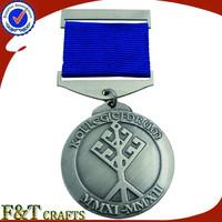 Hot sales custom design your own medal plating antique tin medal ribbon /medal custom