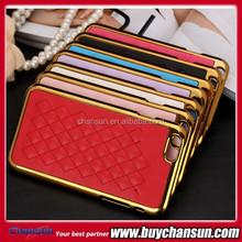 2015 luxury designer leather & chrome case for iphone6