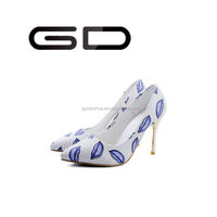 GD women pump shoes high heel close pointed toe ladies dress shoes fashion hot lips women shoes