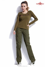 Promotion cargo pants with side pockets women pants