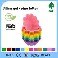 FDA Approved Silicone Flower Reusable Cupcake and Muffin Baking Cup wtih Six Bright Colors