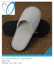 white cotton velvet hotel slippers