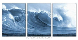 abstract canvas art oil painting with 3pcs panel waves painting
