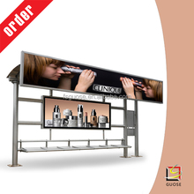 Galvanize Steel, Stainless Steel , Aluminium Profile Material bus shelter with rectangle shape scrolling light box