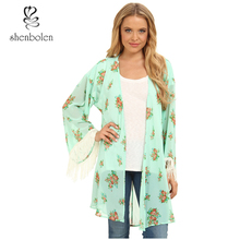 New 2016 Blu Pepper Floral Print Knit Crochet Kimono Robe Boasts a Vintage-inspired Look on a Relaxed Silhouette