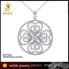 [Reilide] Round circle engraved pendant for couples and best friends silver heart pendant