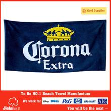 100% cotton customer design printed Corona brand promotion beach towel velour printed promotional beach towel