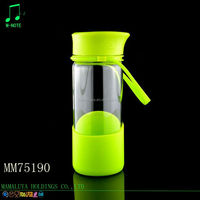 420ml single thick layer high borosilicate tea glass bottle with plastic lid