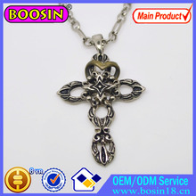 Vintage Punk Long Chain Cross Necklace Loose Heart Charm Fashion Men's Jewelry #13509