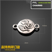 YP2866 paleontology pattern plating ancient silver circular pendant jewelry accessories alloy connector