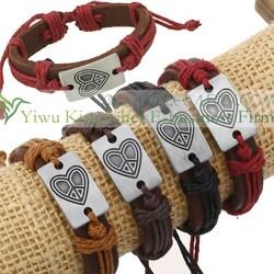 2015 Hot sale engraved heart alloy leather women bracelet China wholesale