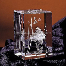 clear rectangle crystal block with 3d image MH-Z003