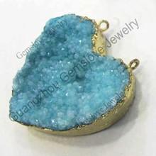 Heart Shaped Light Blue Crystal Druzy Pendant Druzy Connector Agate Druzy Pendant Necklace Pendant Connector