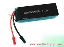 Vant 11.1v rechargeable battery packs lipo 10000mah 3S 25C UAV battery