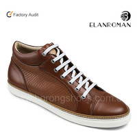 Brown color cow leather hotsales fashion comfortable sneaker