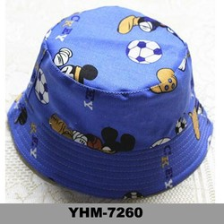 Wholesale cheap cute children canvas bucket hat with carton pattern
