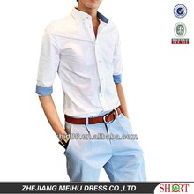 New High quality Slim fit 100%Cotton White men's Casual shirt with three quarter sleeve