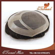Thin skin high quality natural lace with pu OEM human hair mens wigs with 6*8