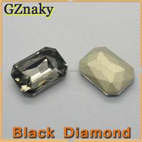 10x14mm BLACK DIAMOND Rectangle beautiful crystal cellphone accessories rhinestone