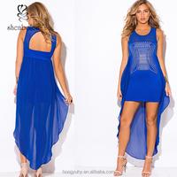 Latest design sexy pron club dress, royal blue short front long back dress chiffon cape embellished cocktail party mini dress