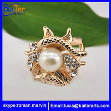 Wholesale 18k gold plated alloy pearl ring , metal dragon ball ring