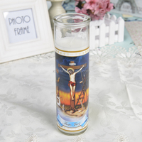 White VELA JUSTO JUEZ Religious Candles In Different Sizes Customize Color Map in Bulk