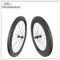 Full carbon clincher wheels 60mm/88mm raod wheels with 25mm wide, U shape new Chinese carbon wheels with competitive price 700C