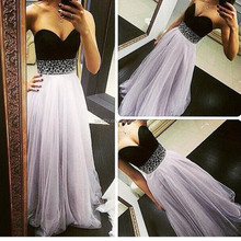 Sweetheart Bridesmaid Chiffon Prom Dresses Rhinestone Long Evening Gowns