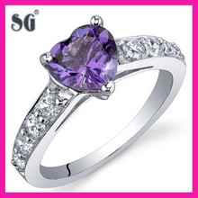 Sizes 5 to 9 Love 1.00 Carats Amethyst Ring in Sterling Silver Rhodium Finish-925S Amethyst Love Heart Silver Ring