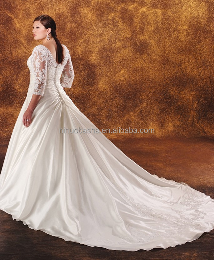 Lace top plus size wedding dress