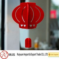 2015 Alibaba hot sale!!! Eco-friendly Chinese new year 25cm height red felt Lantern for store decoration