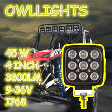 auto parts car accessories easy to fit led driving light for offroad tractor truck boat small spot square 45w led work light