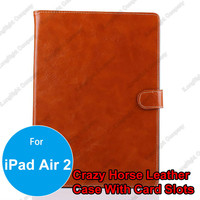 Crazy Horse Pattern Genuine Leather Flip Design Tablet PC Protective Cover Case For iPad Air 2