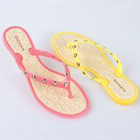 2014 Fashion Hot Style Transparent PVC upper material jelly Flip-flops Crystal plastic slipper shoe for lady and women