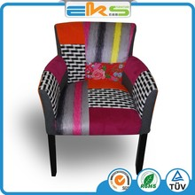 FABRIC UPHOLSTERED PU PVC LEATHER ROYAL CLASSIC LEISURE FURNITURE PATCH WORK WOOD FRAME DINING ARMCHAIR