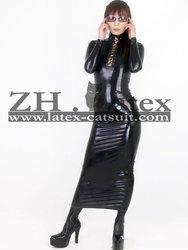 Rubber long dress for women, latex rubber fetish