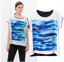 european styles lady short sleeve digital printed women tops and blouses fashion lady shirts
