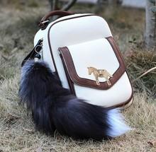 MCH099 farm real Fox Tail Fur Keychain Tassel Pendant Bag Tag Charm keyring Accessory
