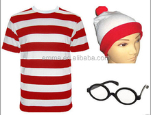 Hot sale white and red where's wally fancy dress stripped tshirt hat glasses carnival party costume BWG-4068