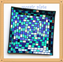 30cm Handmade Blue Color Square Shape Wedding Decoration and Home Centerpieces Tempered Glass Crackle Mirror Mosaic Plate