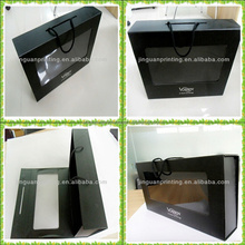 foldable magnetic closure paper packaging boxes with transparent PVC window with cord handle