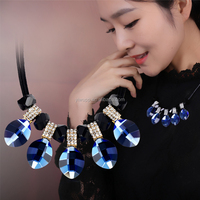 2015 Pinpai Fashion Jewelry crystal pendant blue ocean necklace 296