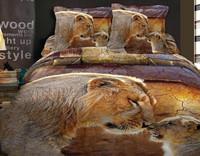 3D lion king design bedding set, wholesale 3pcs bed set,100% cotton printed reactive