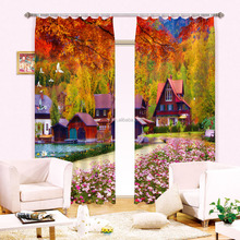 Hottest Eropean style lovely park 3D picture digital printing 100% shading window curtains