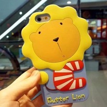 3D silicone case butter lion phone case for iphone 4/5/6/6plus