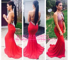 China Supplier Wholesale Cheap High Quality Red Mermaid Halter Backless Beaded Sexy Prom Dress Evening Dresses Online Shopping
