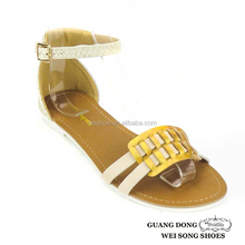 Guangdong supplier latest style tory outdoor ankle strap iron ornament handmade sandals