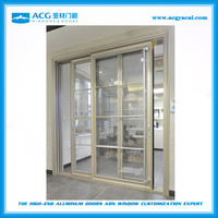 ACG aluminum patio sliding glass doors heavy duty grill design with fly screen