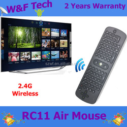 2 years warranty 2.4Ghz Mouse/Keyboard/Remote Controller wireless air mouse RC11 for android tv box