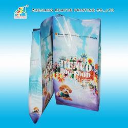 pet travel food bag,bottom gusset plastic pet food bag with top resealable ziplock,stand up pe bag